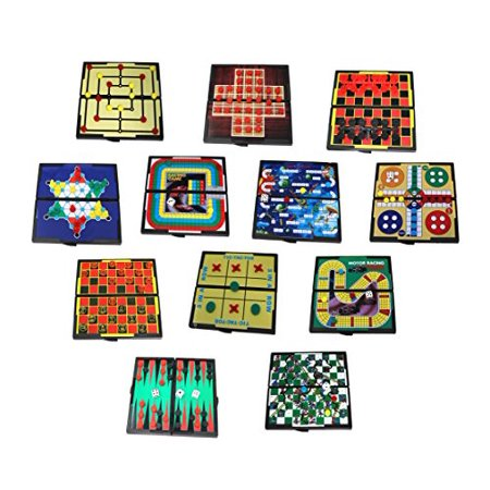 Mini Magnetic Board Games - Set Of 12 Individually Packaged Travel Games - Checkers Chess Solitaire Tic Tac Toe And Much More - image 1 de 4