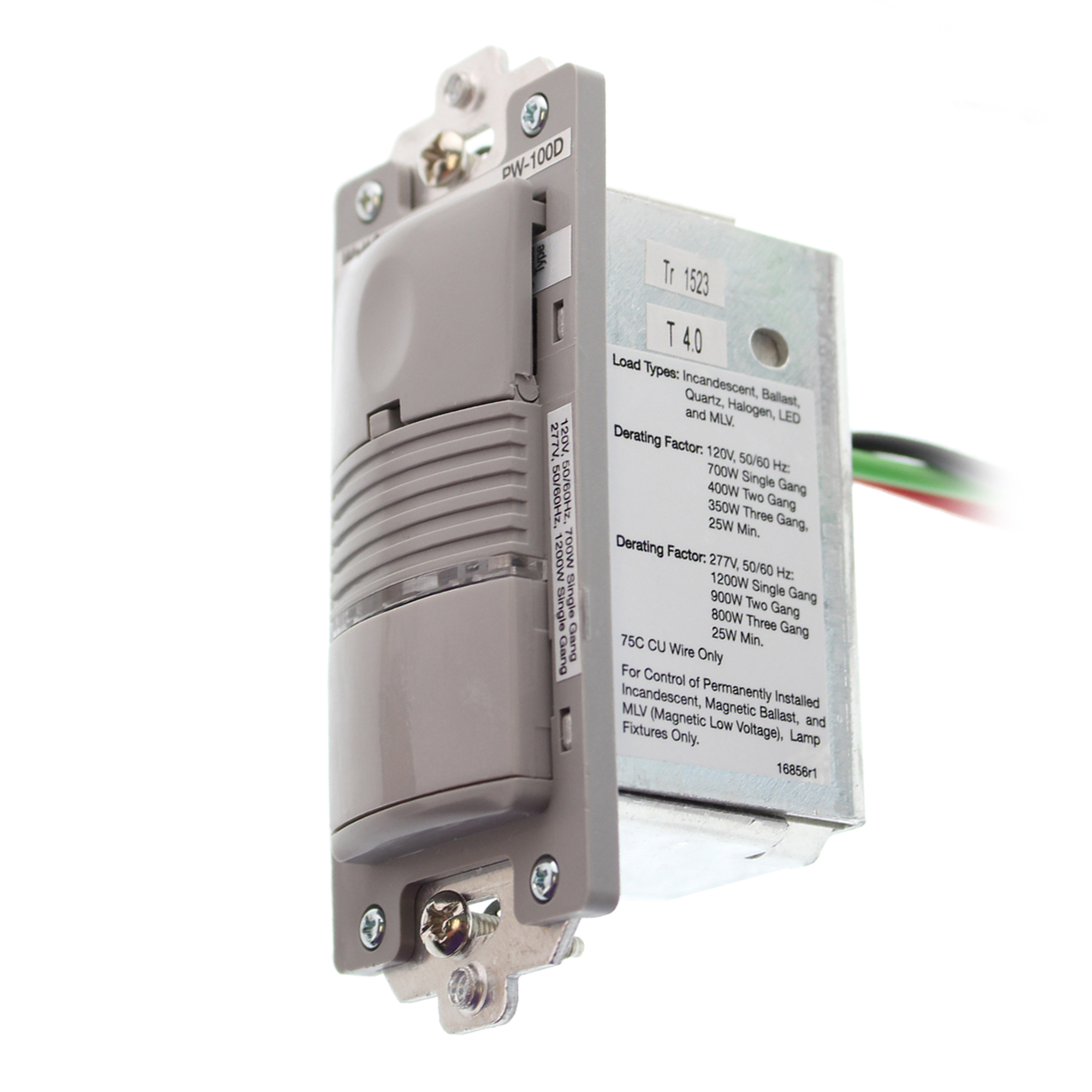Watt Stopper PW-100D-G PIR Wall Switch Occupancy Sensor, 120/277V, Gray