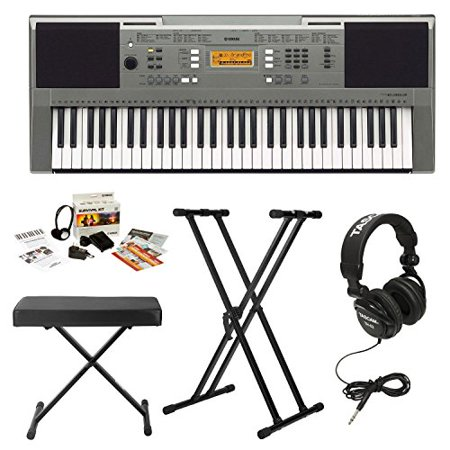 yamaha psre353 61 key touch sensitive portable keyboard with knox double x stand knox bench. Black Bedroom Furniture Sets. Home Design Ideas