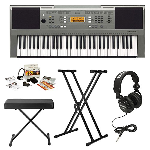 Yamaha PSRE353 61-key Touch Sensitive Portable Keyboard with Knox Double X Stand, Knox Bench, Headphones and Yamaha Survival Kit