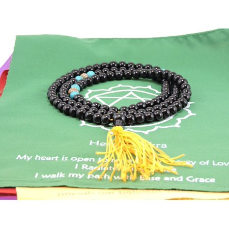 Black Onyx 108 Bead Mala with Om Mani Carved Conch Shell Spacer