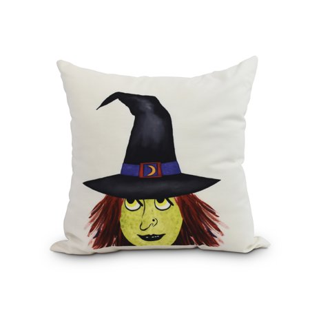 Peek A Boo Witch 20 Inch Cream Halloween Print Decorative Throw Pillow