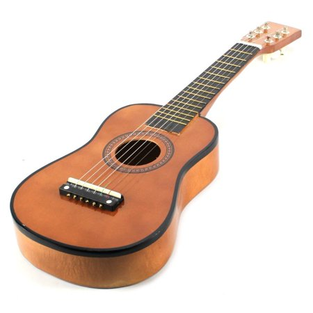 Velocity Toys Acoustic Classic Rock N Roll 6 Stringed Toy Guitar Musical Instrument W  Guitar Pick  Extra Guitar String  Brown