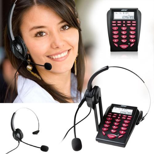 AGPtek Hands-free Call Center Noise Cancellation Corded Monaural Headset Telephone with Backlight Tone Dial Key Pad