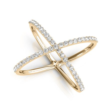 0.35 Carat Criss Cross Diamond Fashion Ring In 10K Yellow - Diamond Accent Criss Cross Ring