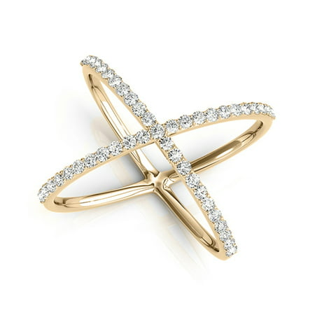 0.35 Carat Criss Cross Diamond Fashion Ring In 10K Yellow Gold