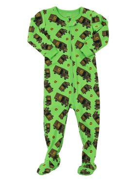 Leveret UPS Truck Footed Pajama Sleeper 100% Cotton Green 18-24 Months