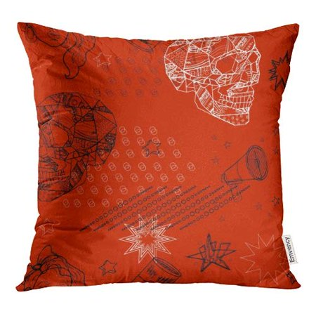 White Skull Star (ECCOT Colorful Abstract Red and White Black Pop Skulls Stars Cherry Bananas Girl Horn Pink Pillow Case Pillow Cover 20x20 inch )
