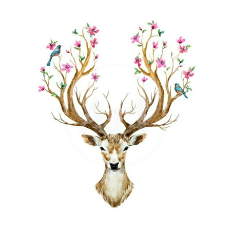 Watercolor Illustration Isolated Deer, Big Antlers, Flowers and Birds on the Horns, Branches Cherry Print Wall Art By Anastasia Zenina-Lembrik