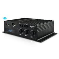 PYLE PFA220BT - Compact Bluetooth Power Amplifier - Desktop Home Audio Amp with MP3/USB/SD Readers, USB Charging (120 Watt)