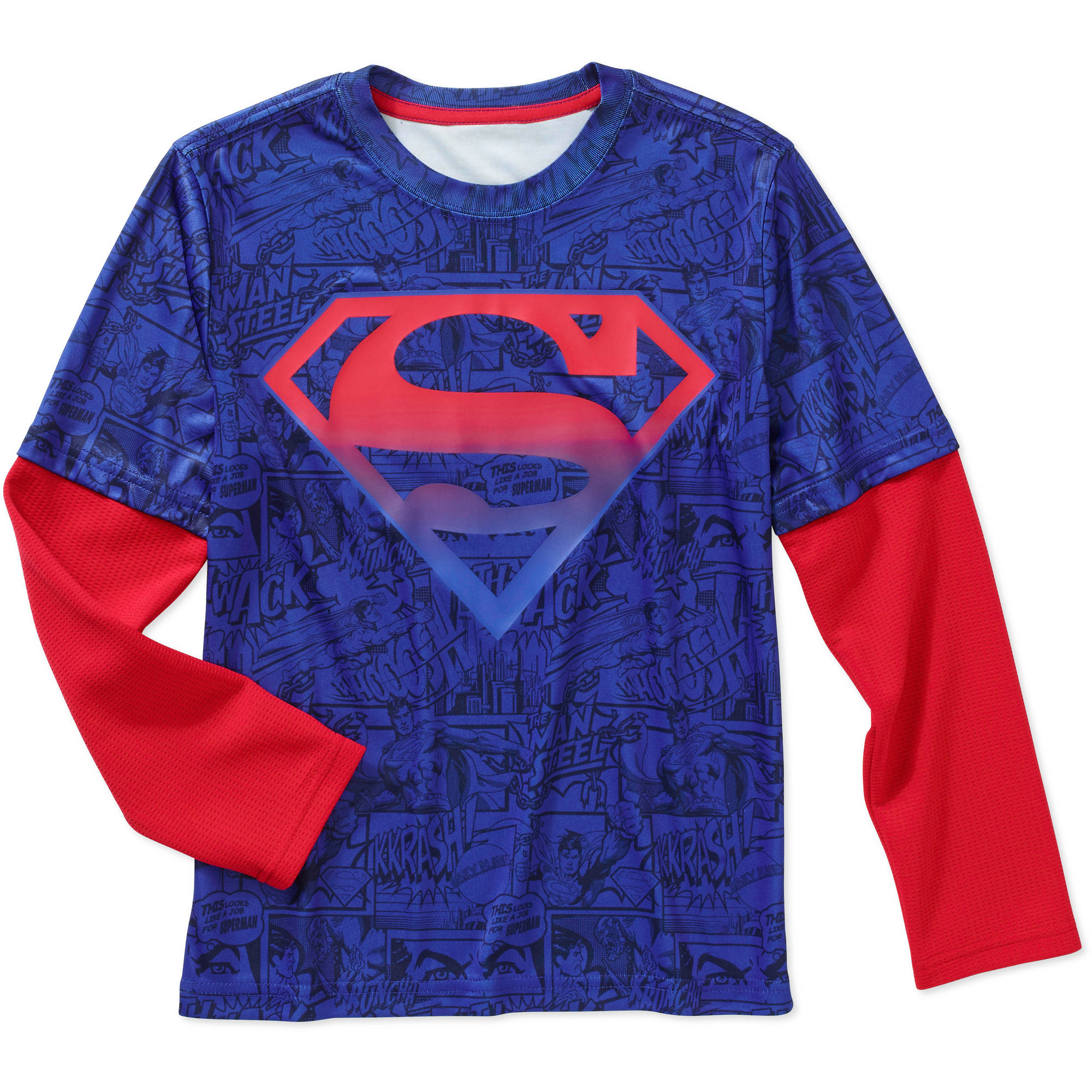 DC Comics Superman Boys' Long Sleeve Poly Tee