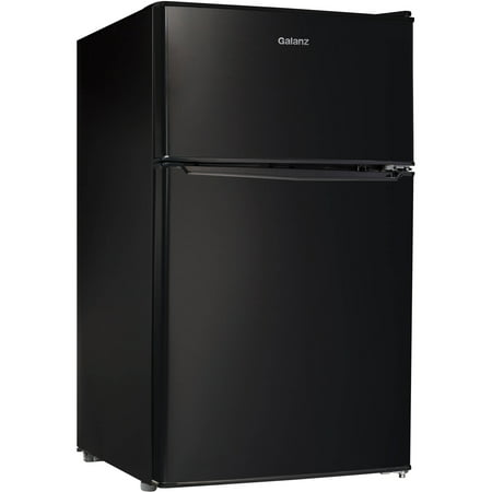 Galanz 3.1 cu ft Compact Refrigerator Double Door, Black
