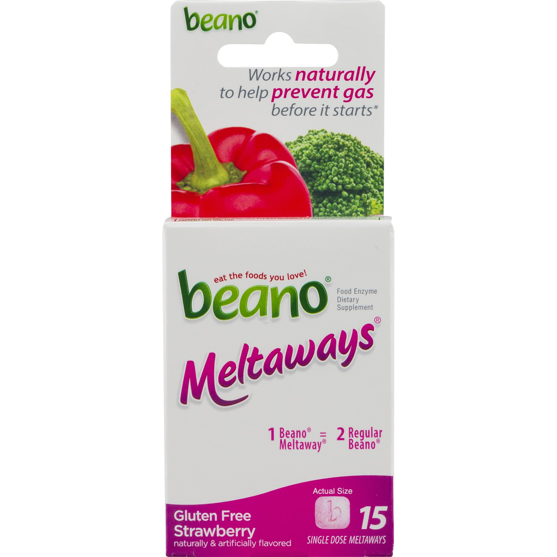 Beano Meltaways Tablets, Strawberry, 15 Ct