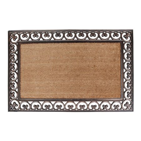 A1HC First Impression Hand Finished Rubber and Coir Classic Paisley Border Extra Large Double Doormat - 30
