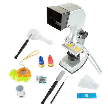 Microscope for Kids, 18 Piece Educational Science Set, 4-Way Magnification form 100x to 900x with Projection Viewing for Boys and Girls by Hey! Play!](Science 4 Kids)
