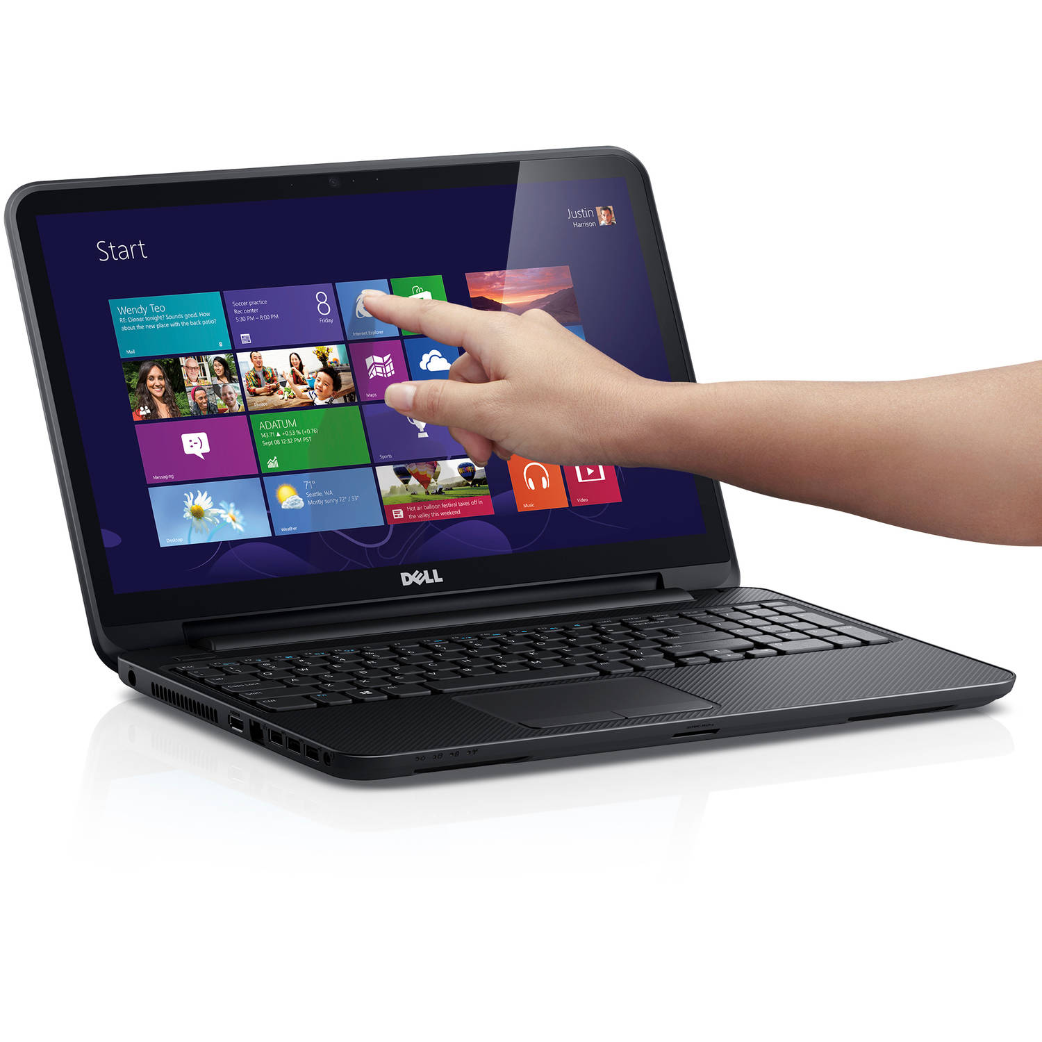 "Refurbished Dell Inspiron i15RVT-3714BLK 15.6"" Laptop, Touchscreen, Windows 8, Intel Pentium 2127U Processor, 4GB RAM, 500GB Hard Drive"