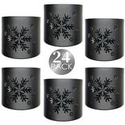 Set of 24 Tea Light Votive Wraps Decorative Black Metal Snowflat Candle Holder Lantern for Home Décor,Wedding,Spa,Party Events