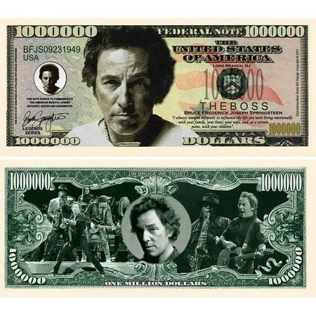 "5 Bruce Springsteen Million Dollar Bills with Bonus ""Thanks a Million"" Gift Card"