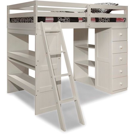 Canwood Skyway Twin Loft Bed Desk Storage Tower White