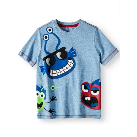 Short Sleeve Wrap Around Graphic Tee (Little Boys & Big (Little Kiss)