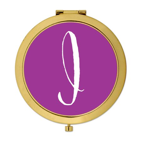 Andaz Press Gold Compact Mirror Bridesmaid's Wedding Gift, Plum Purple, Monogram Letter I, 1-Pack - Plum And Gold Wedding