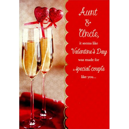 Designer Greetings Champagne Glasses: Aunt & Uncle Valentine's Day Card (Valentine Champagne)