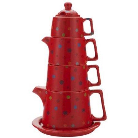 Classic Coffee & Tea Tower Tea Set, Red Polka Dot for $<!---->