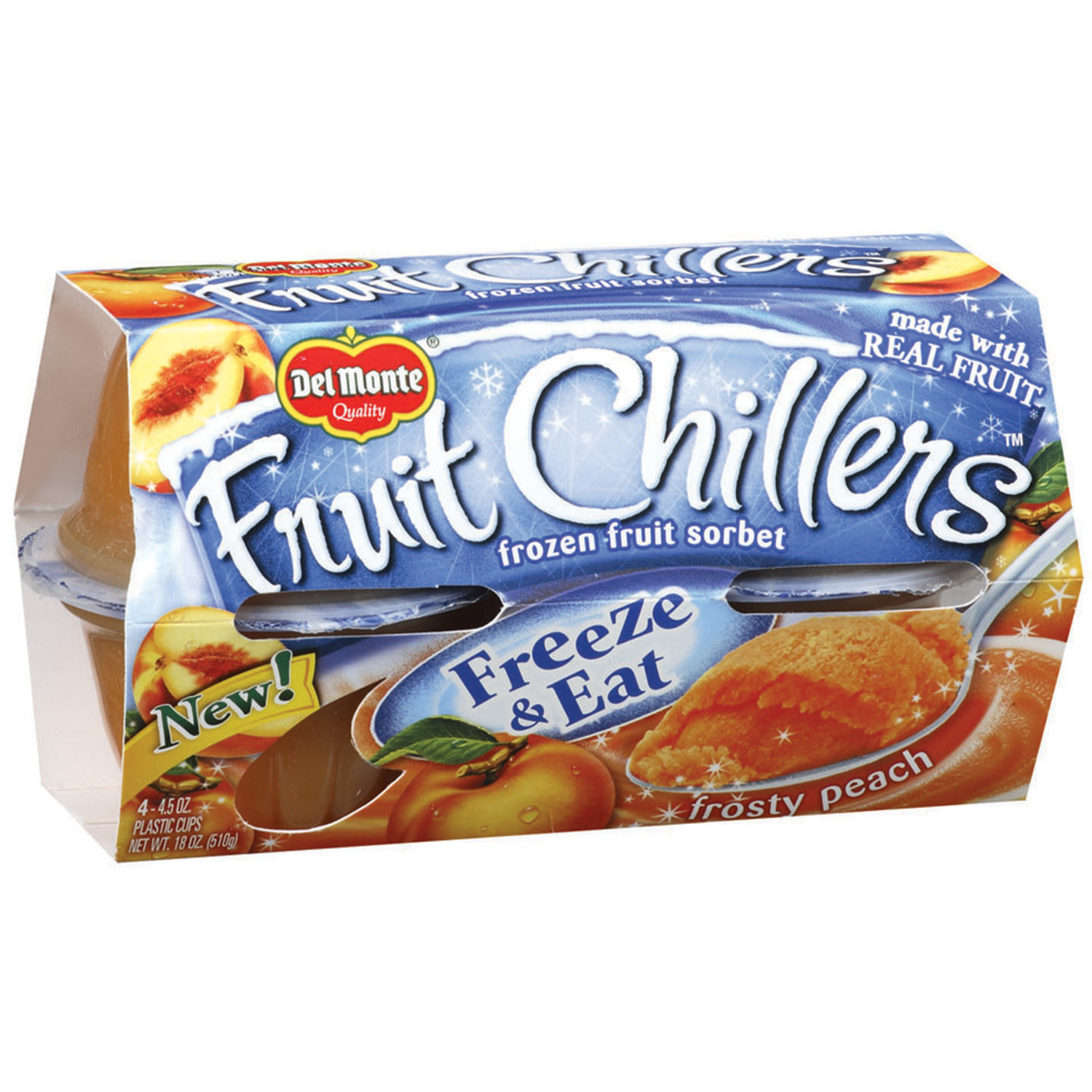 Fruit Chillers Frosty Peach 4.5 oz Frozen Fruit Sorbet, 4 pk