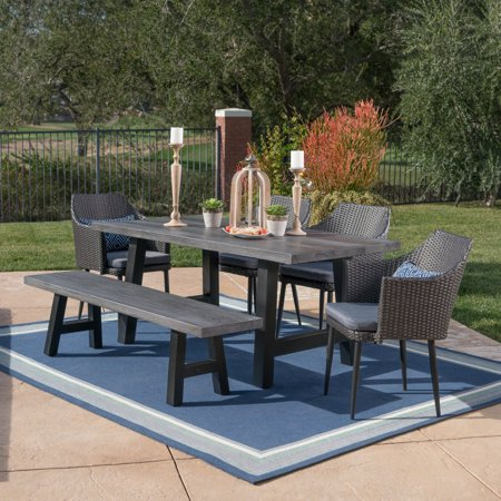 Amaryllis Outdoor 6 Piece Mixed Black Wicker Dining Set with Natural Grey Finish Light Weight Concrete Table and Bench and Grey Water Resistant Cushions ()