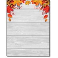 Fall Leaves over Wood Stationery Paper - 80 Sheets