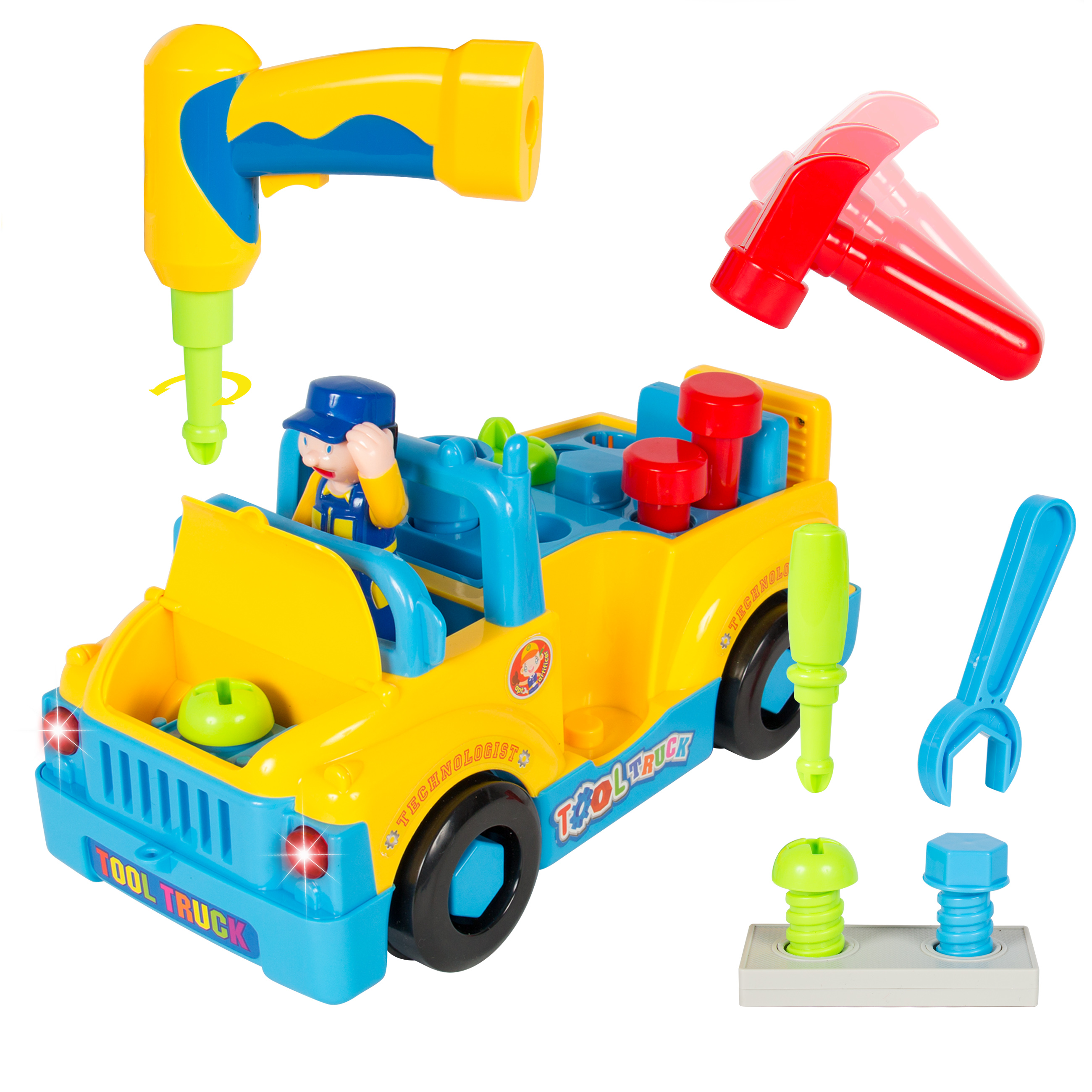 Best Choice Products Bump'n'Go Toy Truck With Electric Drill and Various Tools, Lights and Music