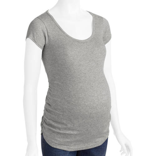 Planet Motherhood Maternity Short Sleeve Scoop Neck Tee With Flattering Side Ruching--Available in Plus Sizes