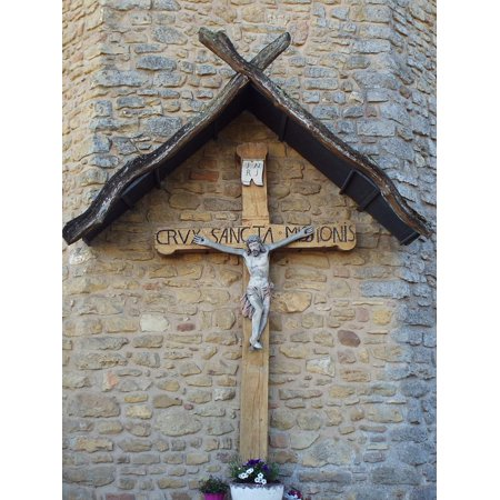 Wooden Church Cross Supply (Canvas Print Church Old Wooden Cross Luxembourg Klausen Stretched Canvas 10 x 14)