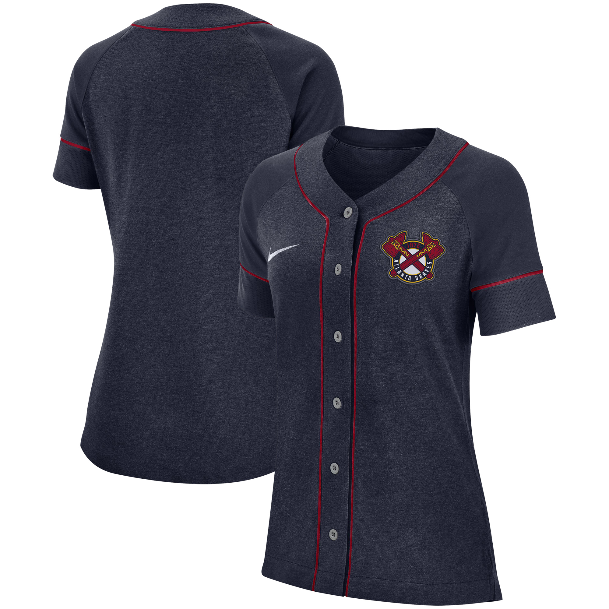 hot sale online 70251 dedf8 Atlanta Braves Nike Women's Classic Baseball Jersey - Navy