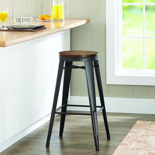 "Better Homes and Gardens 29"" Harper Stool, Vintage Oak, Set of 3"