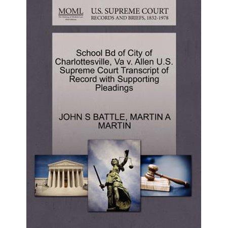 School Bd of City of Charlottesville, Va V. Allen U.S. Supreme Court Transcript of Record with Supporting Pleadings ()