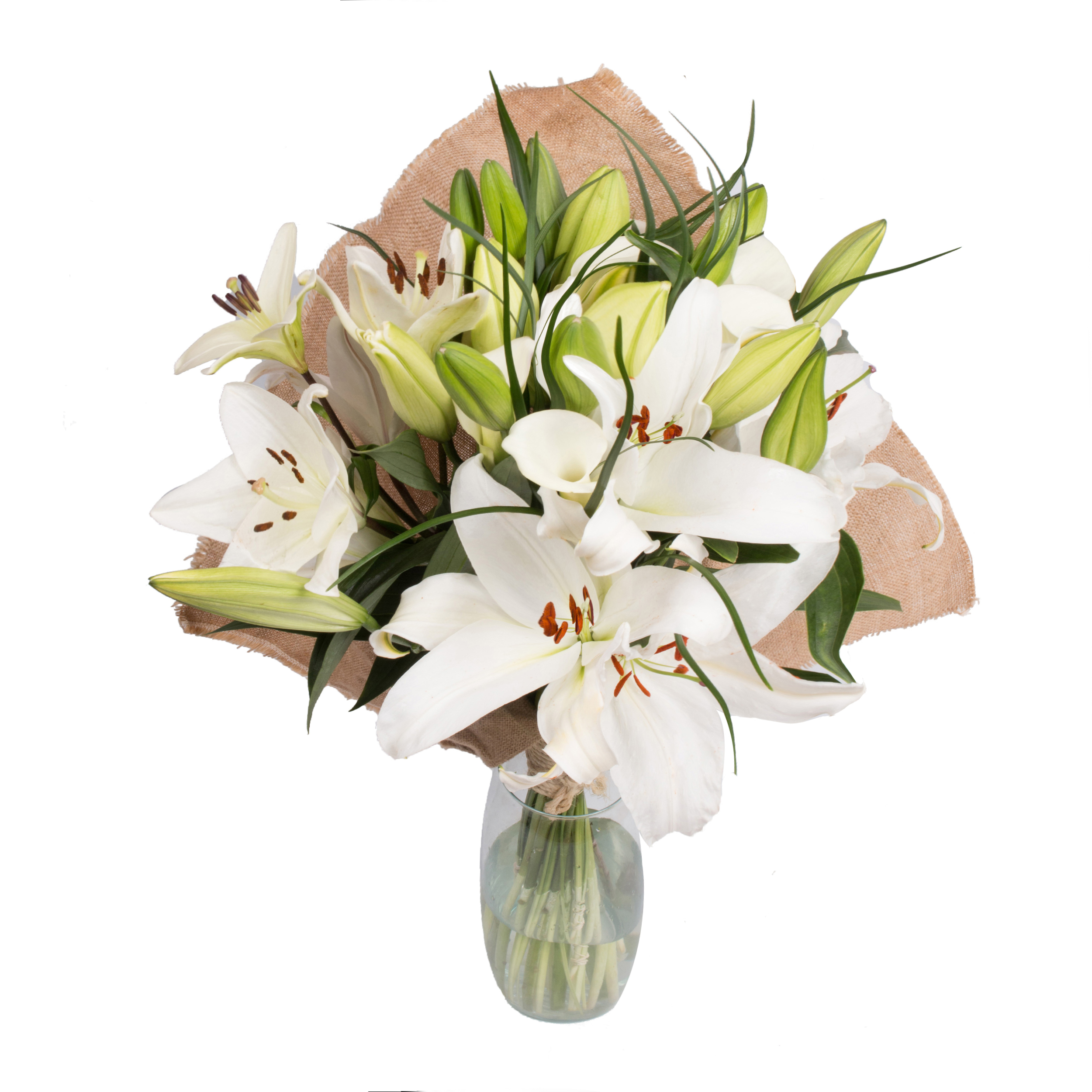 White Blossom Bouquet with Burlap - 19 Stems
