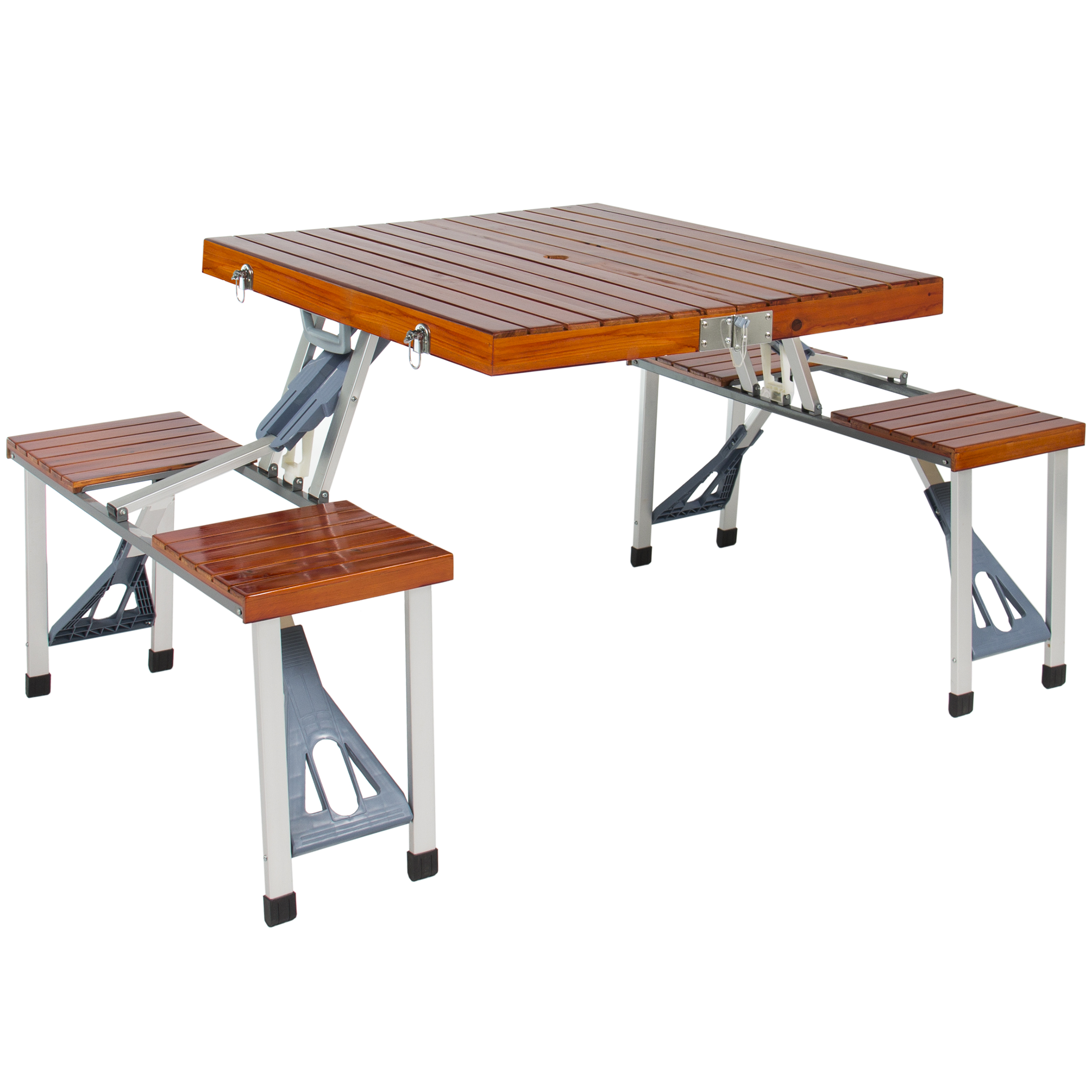 Best Choice Products Wood Folding Picnic Table With Carrying Case Seats 4 by
