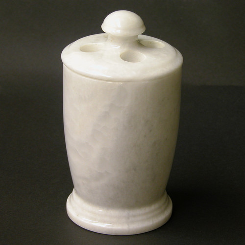 Nature Home Decor Series 300 in White Z Marble Toothbrush Holder