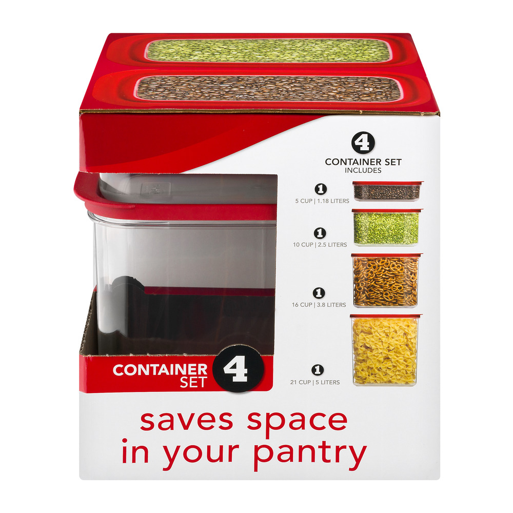 Rubbermaid Modular Canisters, Premium Food Storage Container, BPA-free Zylar, 4-piece Set