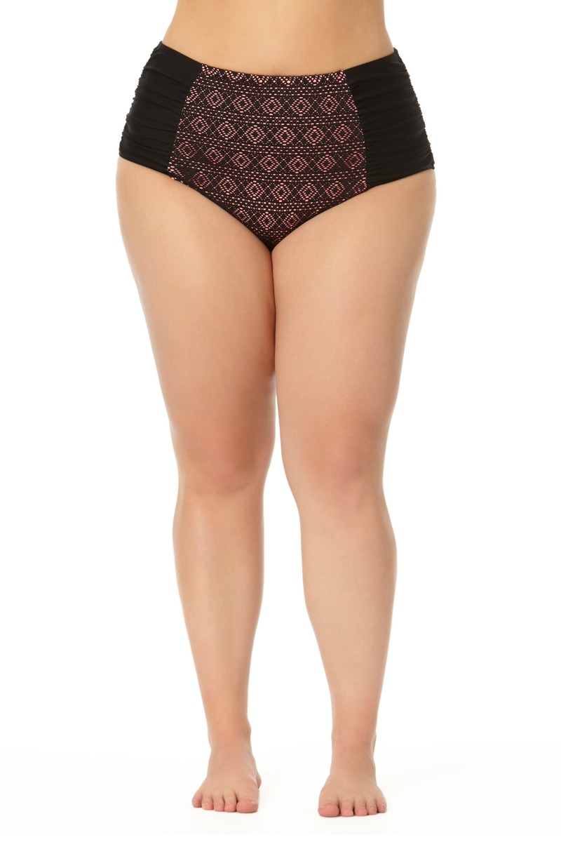 Allure Juniors Plus Size Front Crochet High Waist Hipster Swim Bottom
