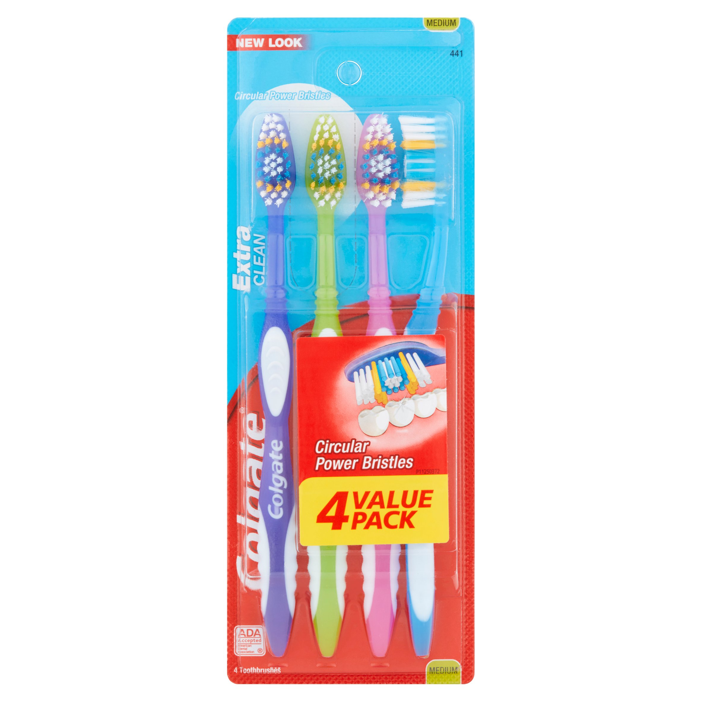 Colgate Extra Clean Toothbrush Value Pack, Medium, 4 Count