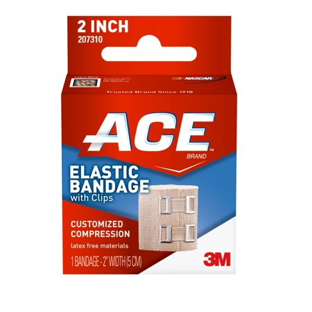 Ace Elastic Compression Bandage W Clips  2 In  Black  1 Bandage Pack