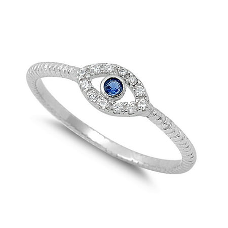 Evil Eye Simulated Sapphire Cubic Zirconia Sterling Silver (Cubic Zirconia Eyes)