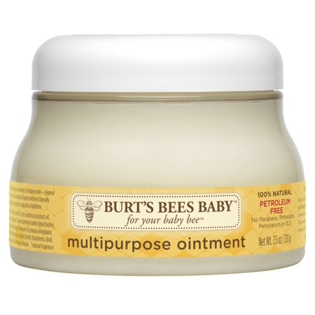Burt's Bees Baby 100% Natural Multipurpose Ointment - 7.5 Ounces The smooth rich texture of Burts Bees Baby Multipurpose Ointment forms a barrier against dryness leaving you with one soft happy baby. This multipurpose, non-irritating, petroleum free multipurpose ointment is pediatrician tested to be gentle and safe for everyday use. Apply ointment to babys body to moisturize and smooth babys skin. To calm your little ones sensitive diaper area, cleanse babys diaper area and apply ointment liberally. This jar of 100% natural baby ointment contains no phthalates, parabens, petrolatum or SLS. Nurture babys skin naturally with Baby Bee from Burts Bees.