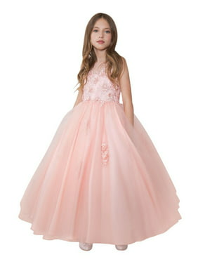 87fb228259 Product Image Calla Collection Girls Blush Mesh Floral Applique Pageant  Dress