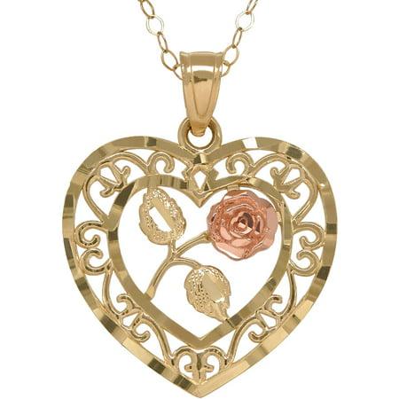 Silver Filigree Flower Necklace (10kt Gold Filigree Heart with Center Flower Pendant)