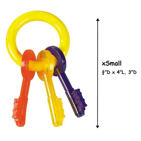 Puppy Teething Toy Key Ring Colorful Safe For Puppies Dogs to Chew - Choose Size