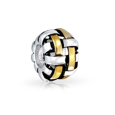 Woven Basket Weave Barrel Charm Bead For Women Two Tone 14K Gold Plated Sterling Silver Fits European Bracelet (14k Gold Plated Charm)
