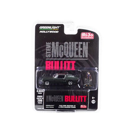 1968 Ford Mustang GT Green with Steve McQueen Figurine Bullitt (1968) Movie Limited Edition to 4,600 pieces Worldwide 1/64 Diecast Model Car by Greenlight